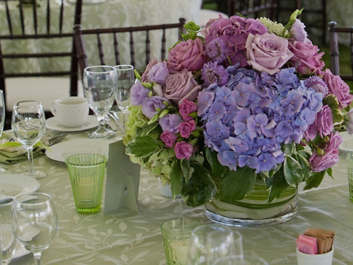 Purple flowers on table