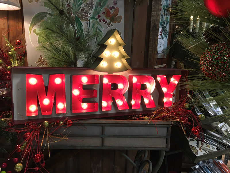 Christmas lighted sign