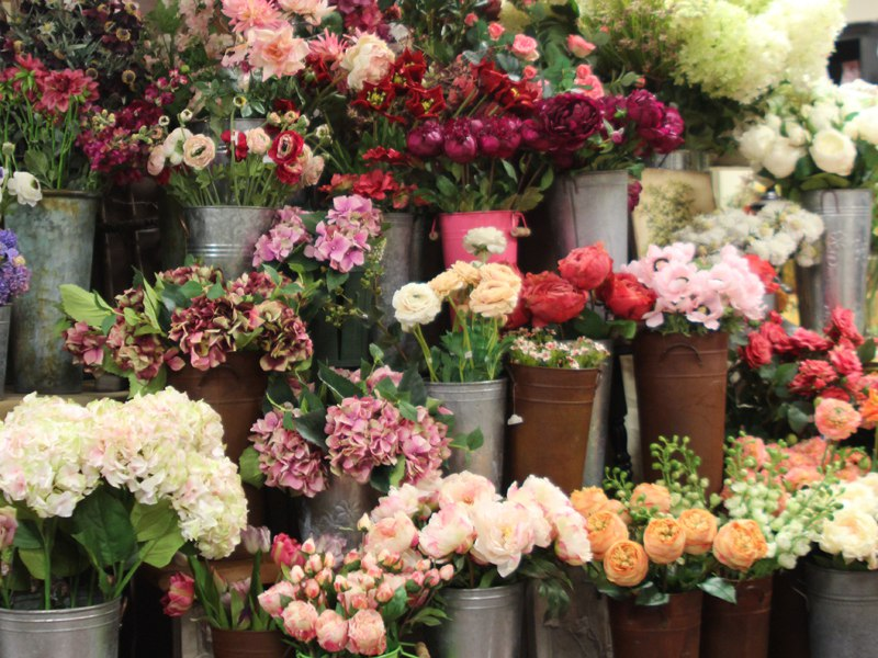 Silk flowers in containers