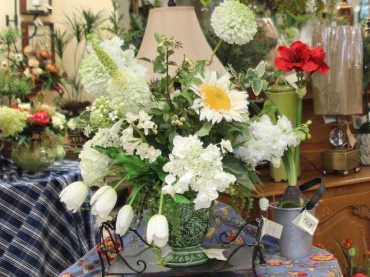 White silk flower arrangement