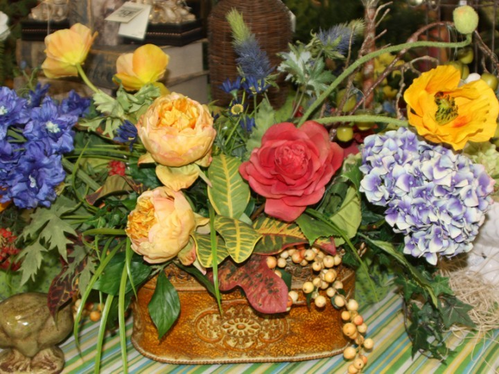 Colorful silk flower arrangement