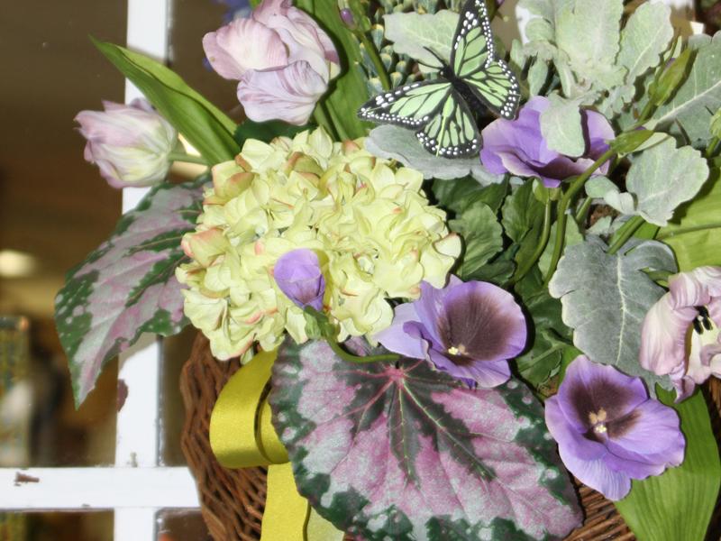 Yellow and purple silk flowers