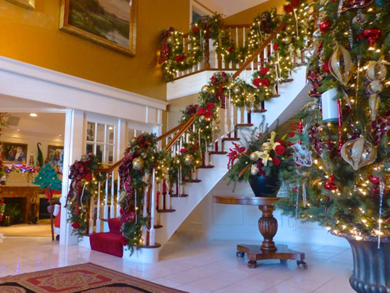 Interior with Christmas decorations on a staircase