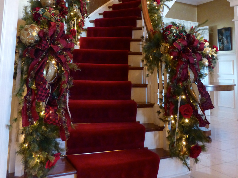 In Home Christmas Decorating Staircase Wisteria Flowers And Gifts