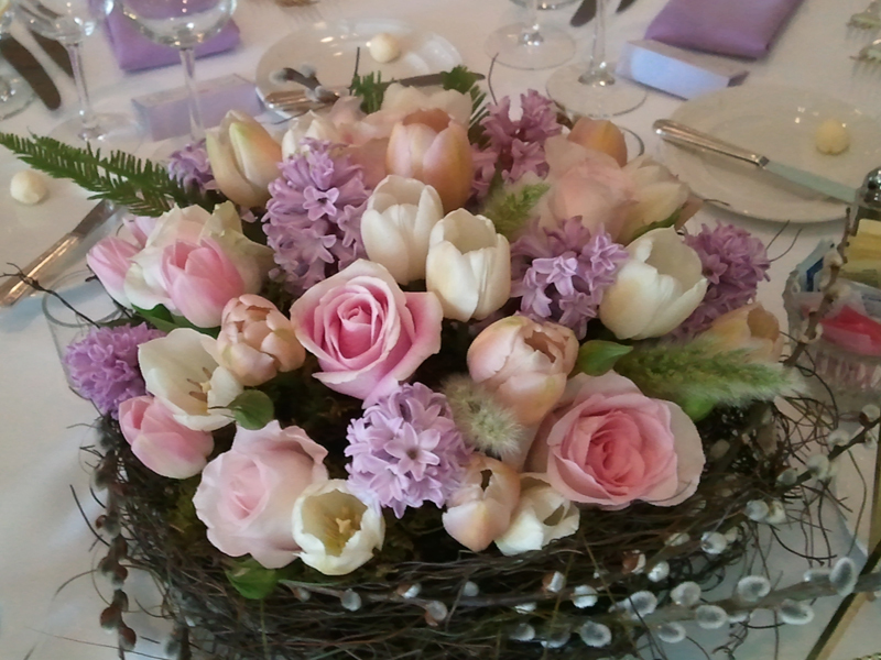 Rose, tulip and lilac bouquet