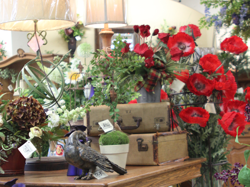 Home decor lamps and red poppy flowers