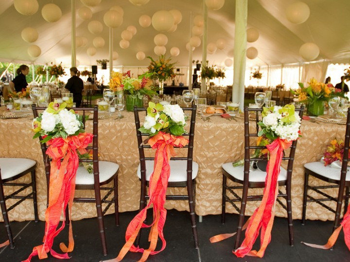Table at a modern style summer wedding