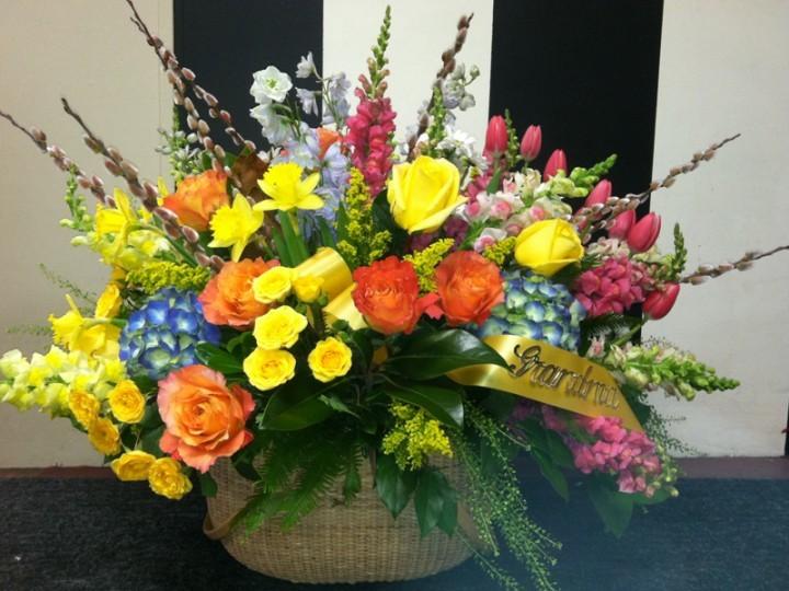 Red and yellow funeral flower arrangement wisteria flowers and gifts red and yellow funeral flower arrangement mightylinksfo