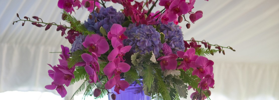 Pink and purple wedding flower arrangement