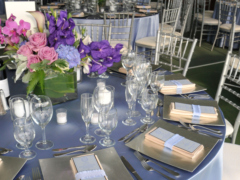 Table settings at a Romantic style wedding