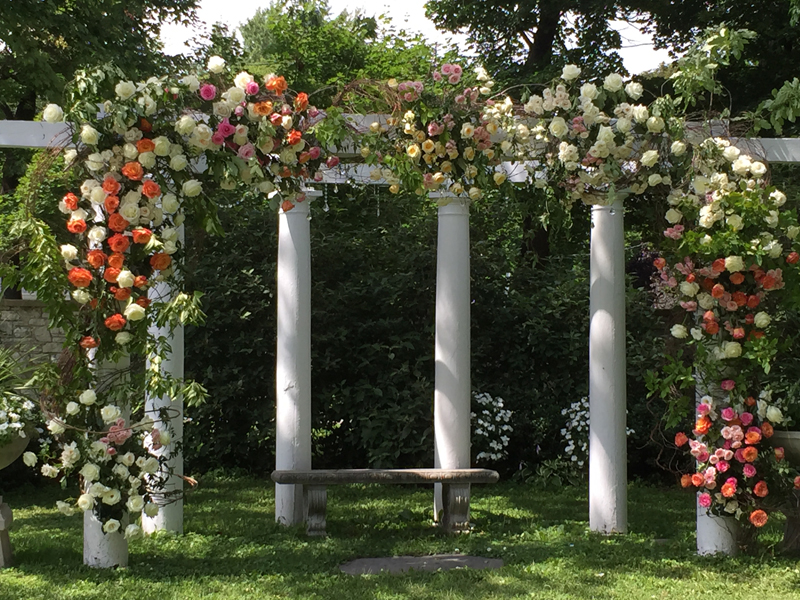 A traditional style wedding outdoors