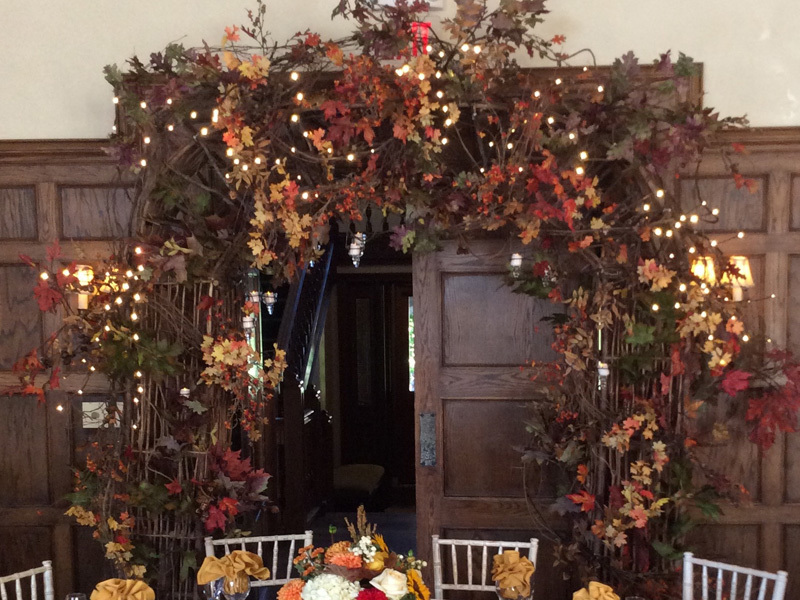 Autumn theme doorway decoration corporate event