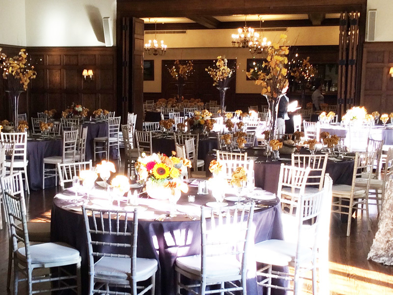 Decorated dining room for corporate event