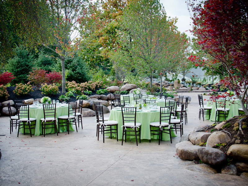 Elegant garden wedding reception outside
