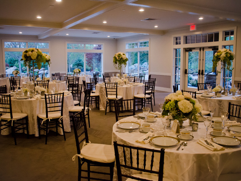 Elegant garden wedding reception room