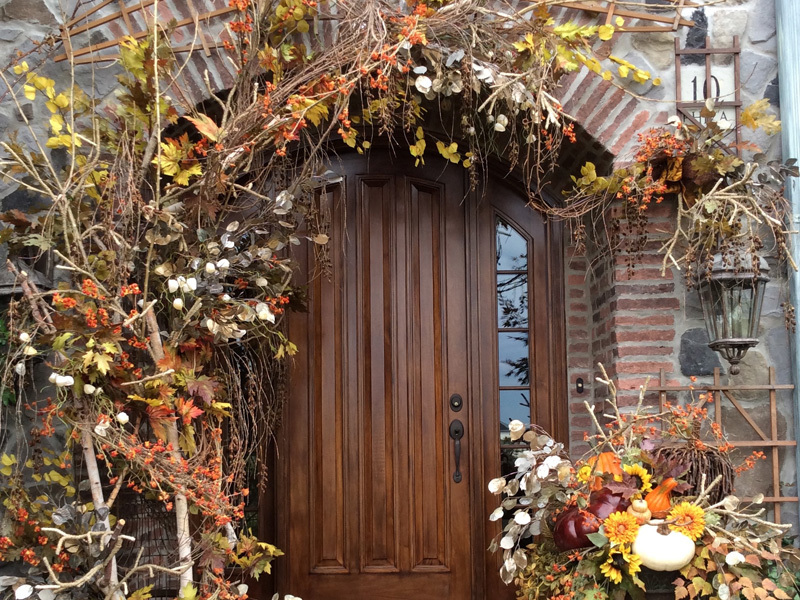 Home decorated doorway fall theme