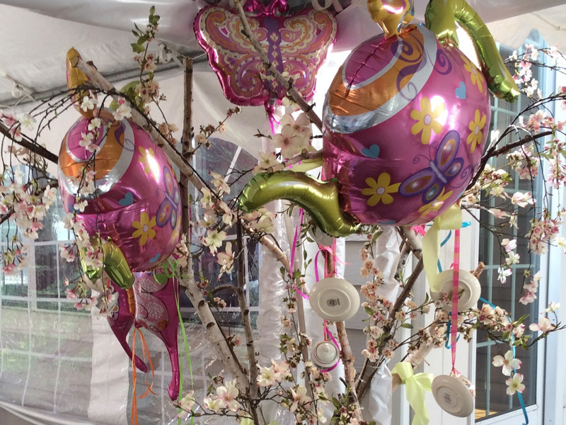 Pink and green tea party birthday decorations