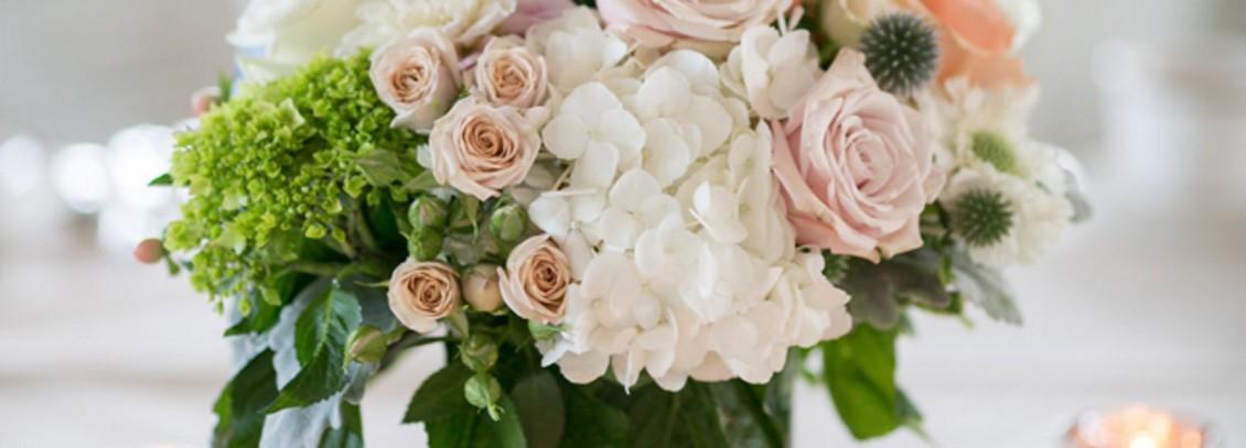 Portfolio wedding pink and white flower arrangement