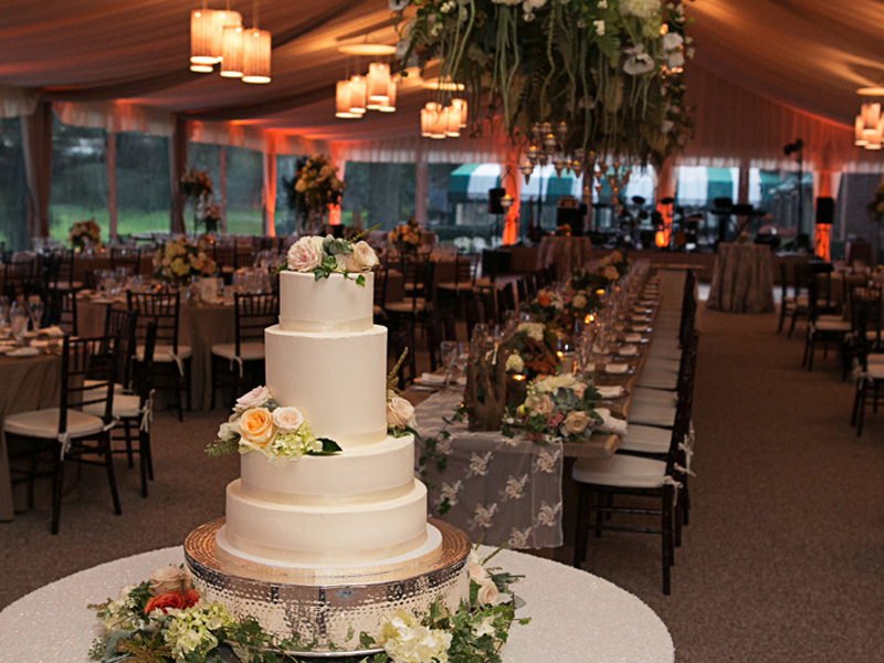 Wedding reception tables and cake