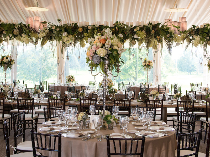 English countryside wedding reception floral garland