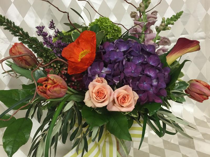 Valentine tulips hydrangea floral arrangement