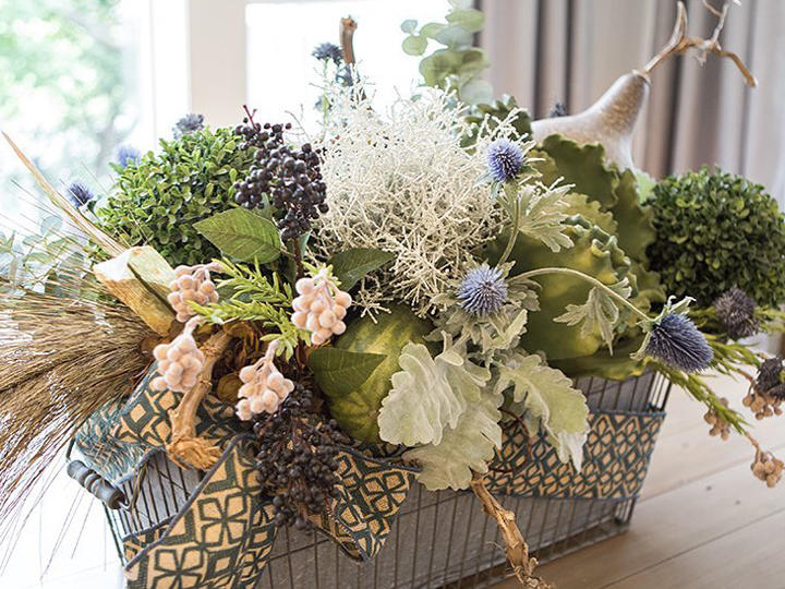 Floral arrangement in basket