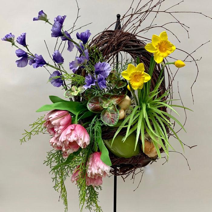 Spring cottage silk wreath