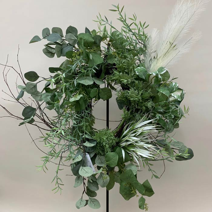 Silk wreath with green foliage