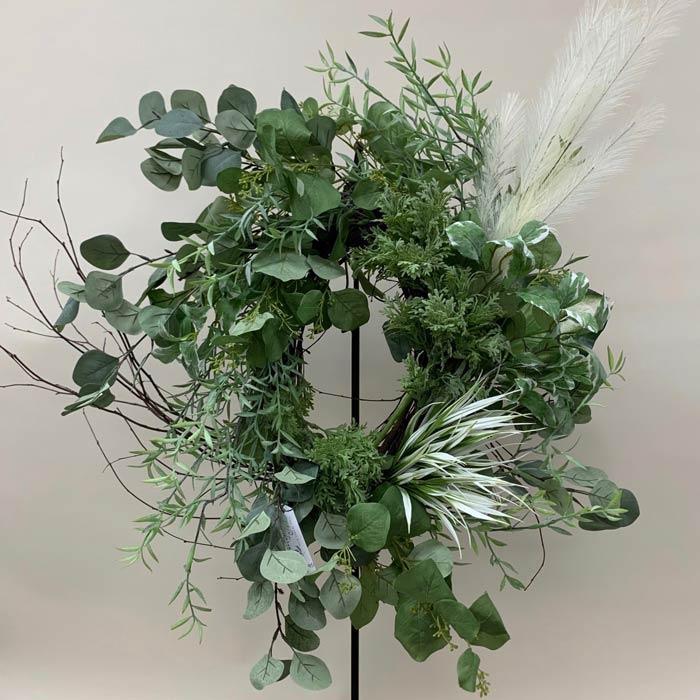 Silk wreath with green foliage