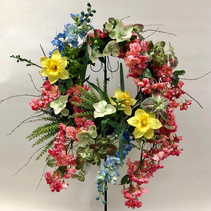Springtime silk flower wreath